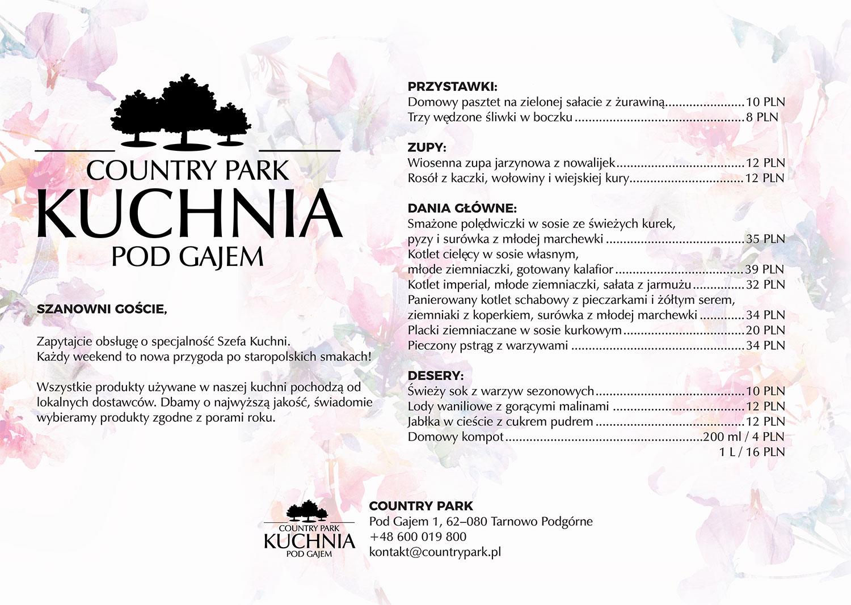 kuchnia pod gajem menu