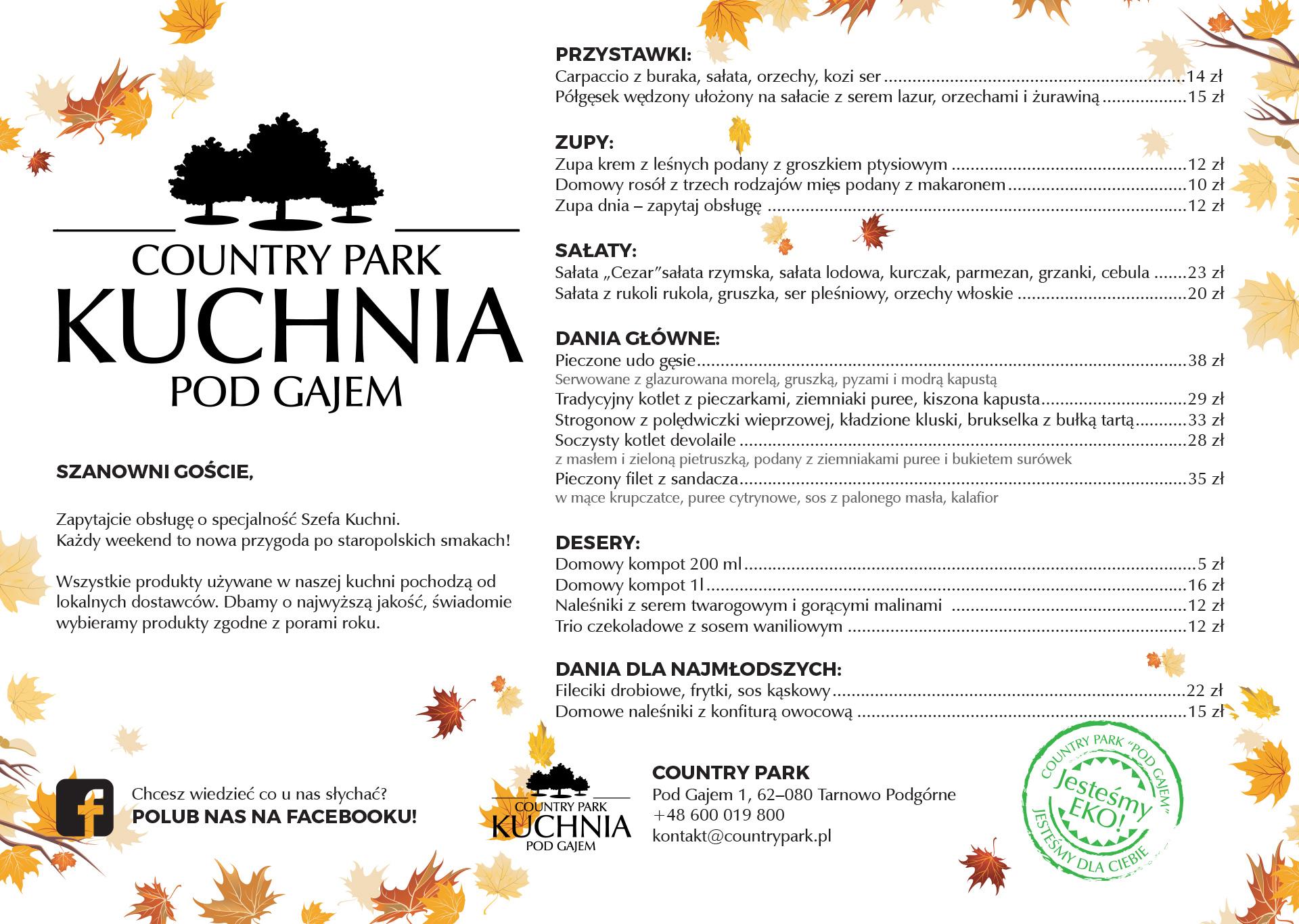 menu jesień
